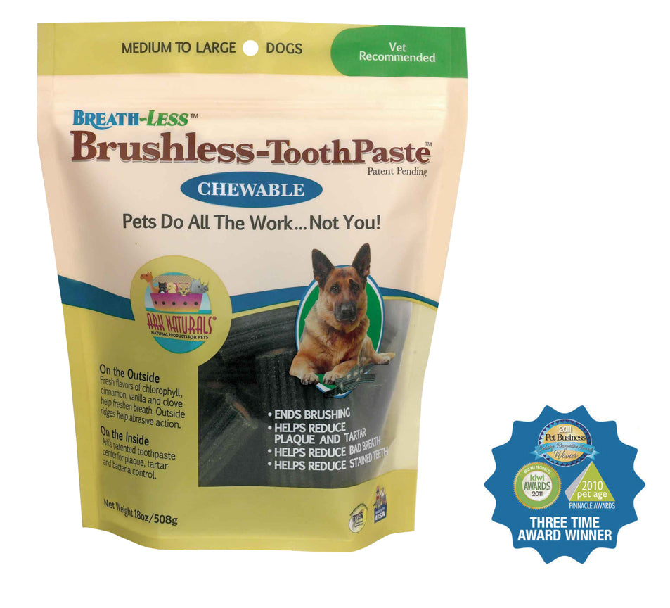 Ark Naturals Breath-Less Chewable Brushless-Toothpaste, Medium to Large 18oz
