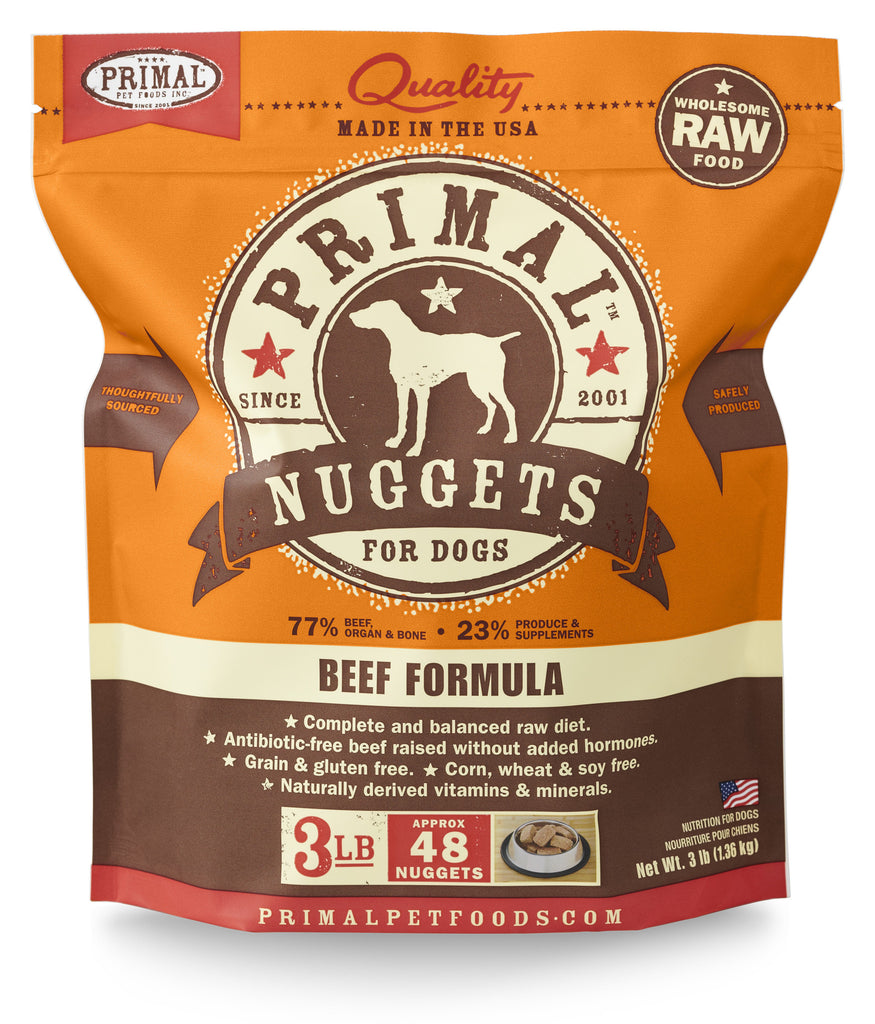 Primal Dog Frozen Nuggets Beef 3lbs