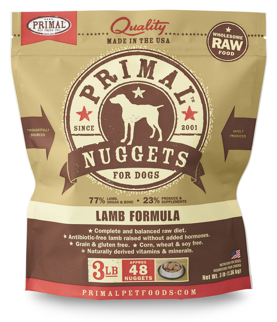 PRIMAL DOG FROZEN NUGGETS LAMB 3LBS