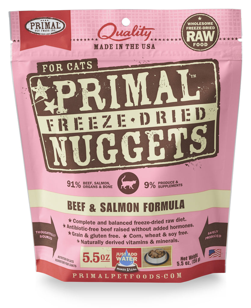 PRIMAL CAT DRIED BEEF&SALMON 5.5OZ