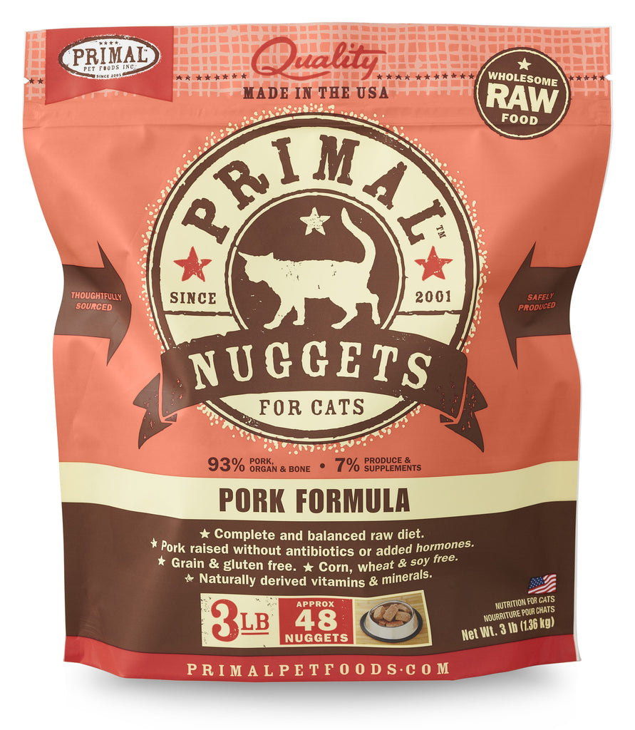 Primal Cat Frozen Nuggets Pork 3lbs