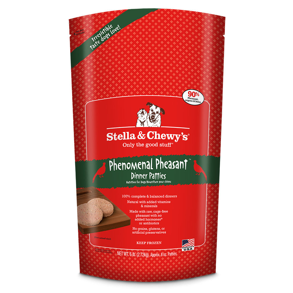 STELLA & CHEWY'S PHENOMENAL PHEASANT FROZEN DINNER PATTIES, DOG 6LBS