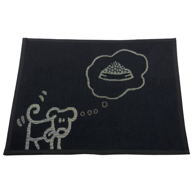 ARLEE BOWL MAT FOOD FOR THOUGHT BLACK 13X18