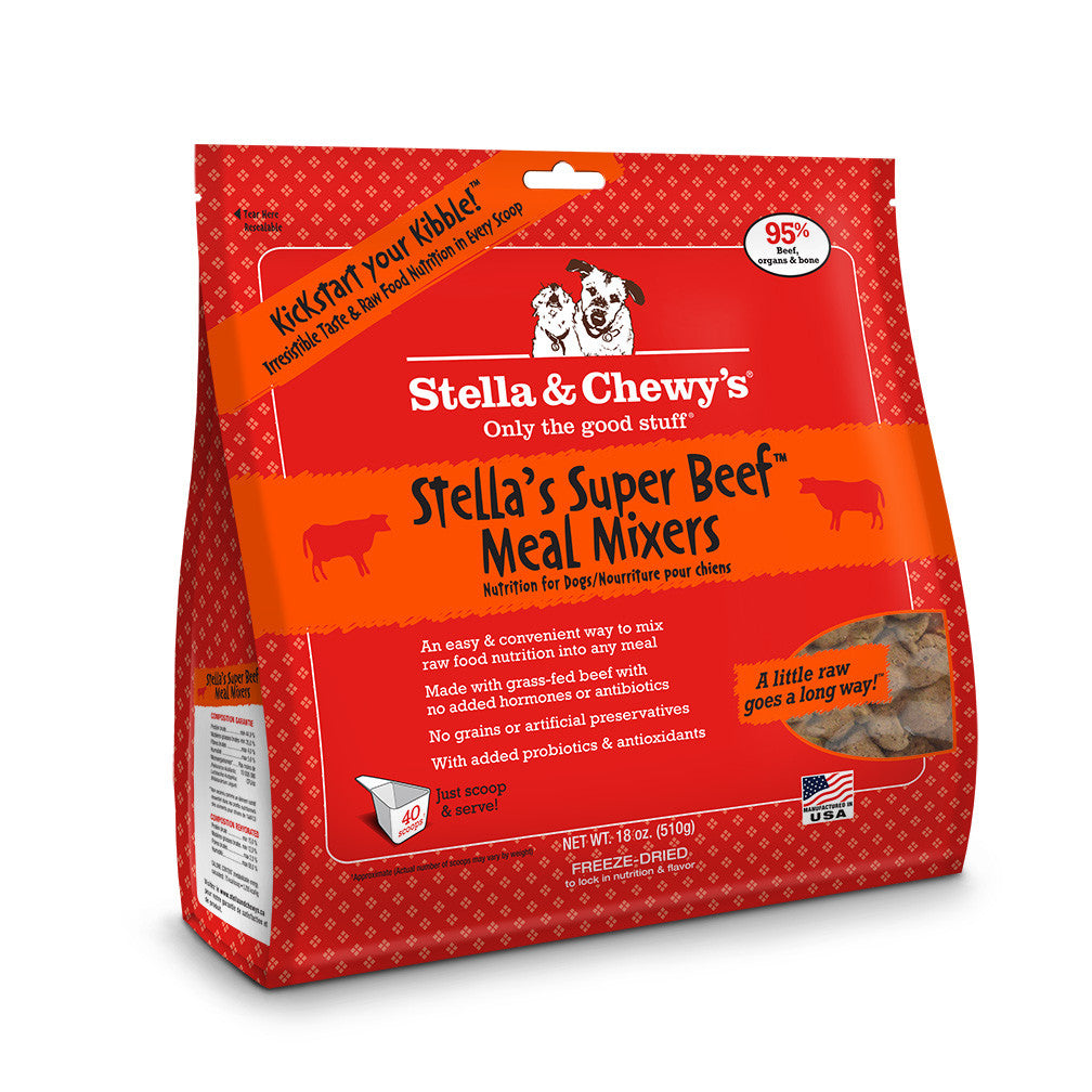 STELLA & CHEWY'S FREEZE DRIED MIXERS SUPER BEEF, DOG 18OZ