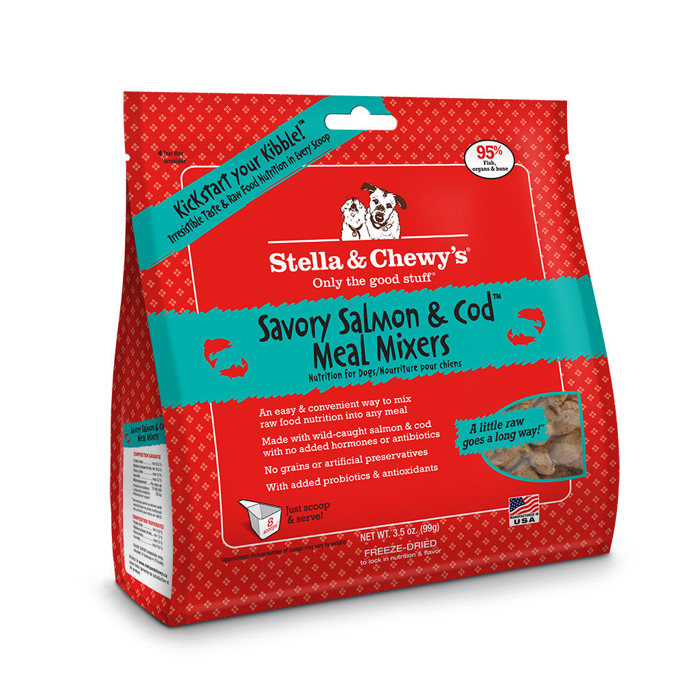 STELLA & CHEWY'S FREEZE DRIED MIXERS SAVORY SALMON & COD, DOG 3.5OZ