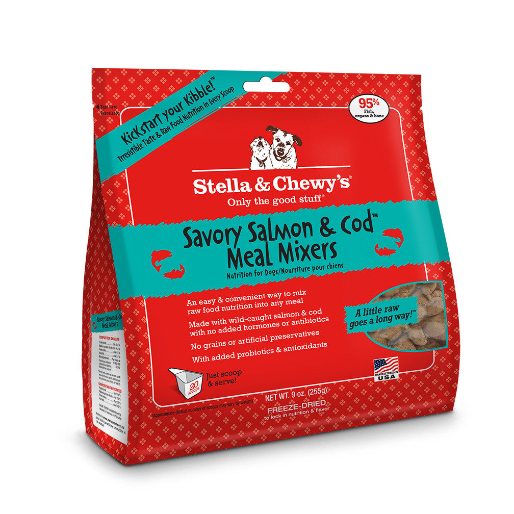 STELLA & CHEWY'S FREEZE DRIED MIXERS SAVORY SALMON & COD, DOG 9OZ