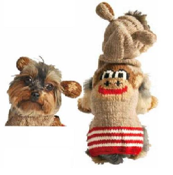 CHILLY DOG HOODIE SOCK MONKEY MEDIUM