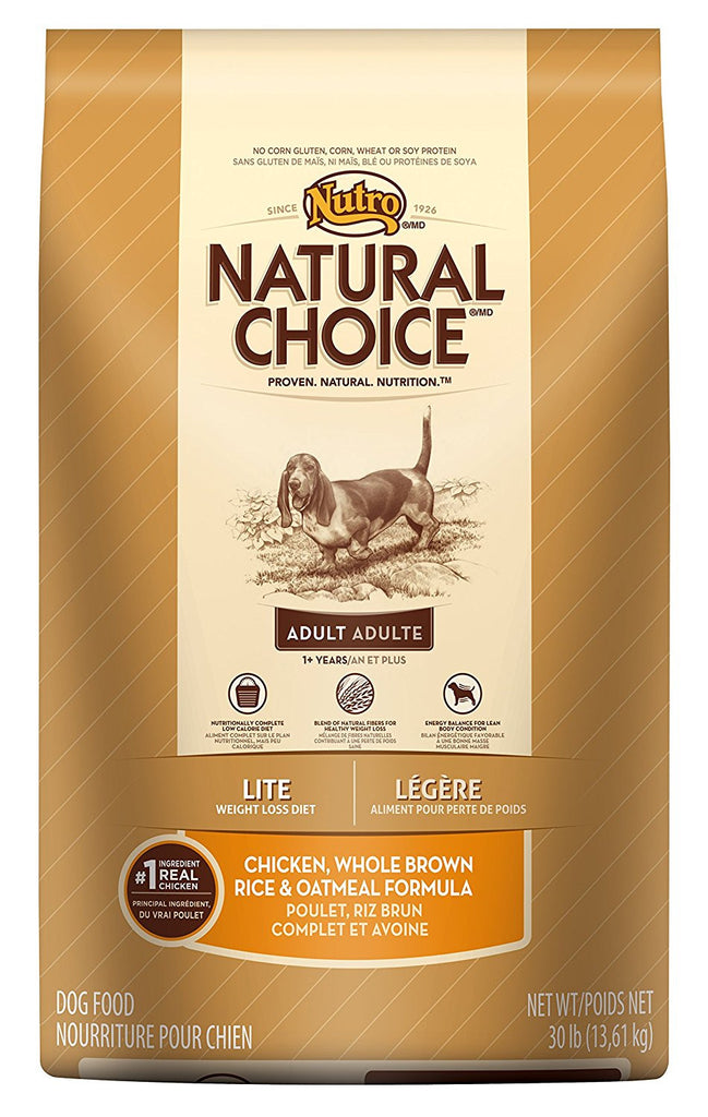 NUTRO NATURAL CHOICE DOG LITE CHICKEN, WHOLE BROWN RICE & OATMEAL FORMULA 30LBS