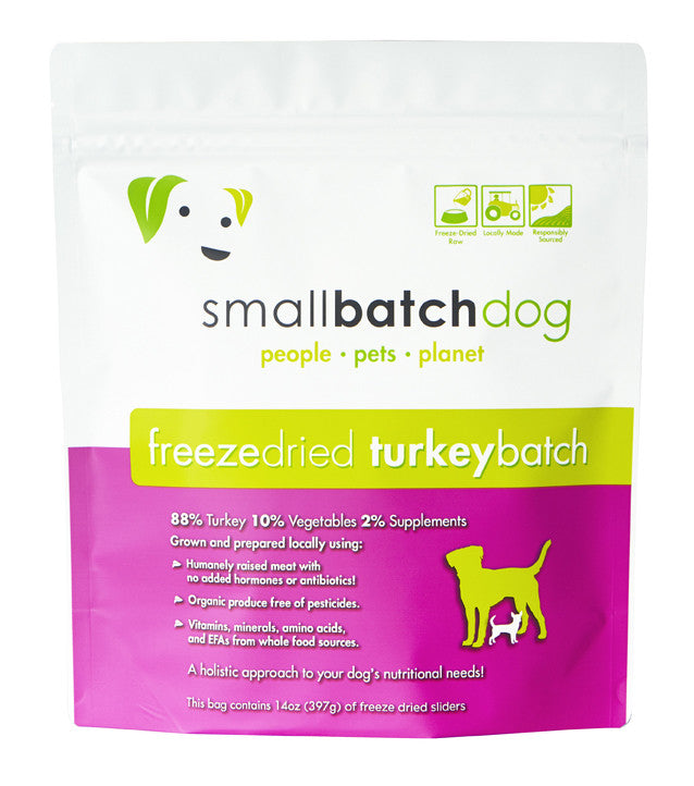 SMALLBATCH FREEZE DRIED TURKEY BATCH SLIDERS, DOG 14OZ