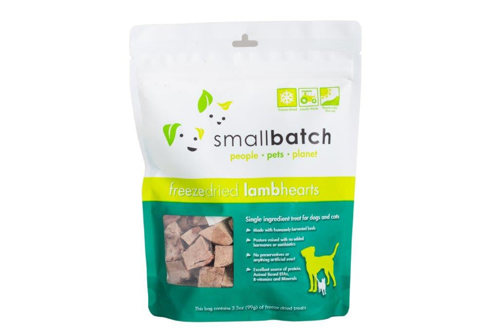 SMALLBATCH TREATS LAMB HEARTS, CAT OR DOG 3.5OZ