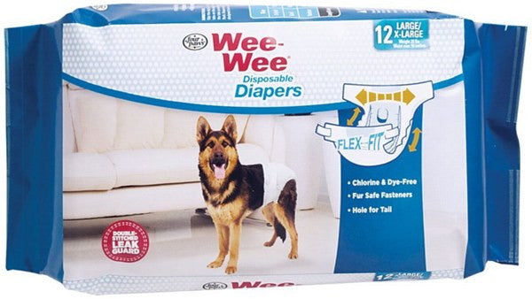 FOUR PAWS WEE WEE DISPOSABLE DIAPERS LARGE/EXTRA LARGE 12PK