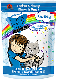 B.F.F. OMG Cat Pouch Ciao Baby! Chicken & Shrimp Dinner in Gravy 2.8oz