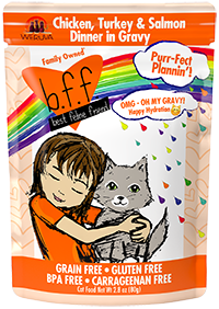 B.F.F. OMG Cat Pouch Purr-Fect Plannin'! Chicken, Turkey & Salmon Dinner in Gravy 2.8oz