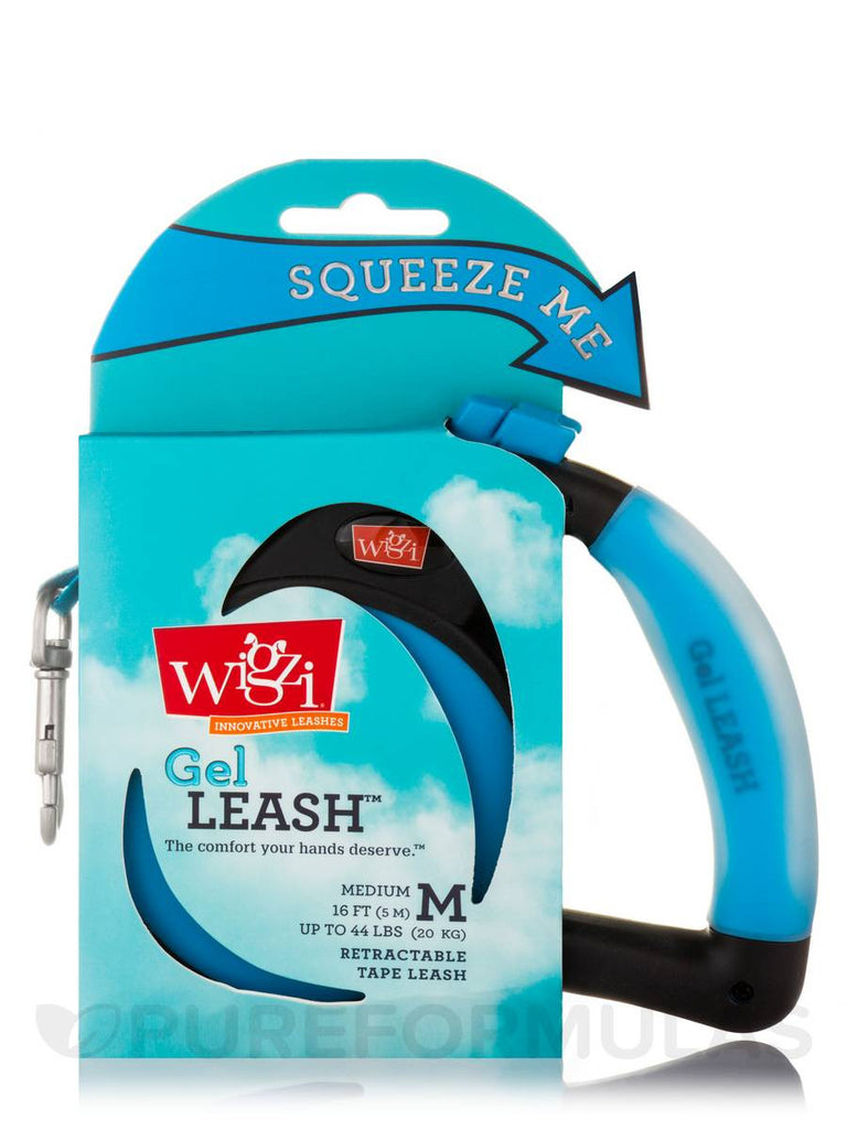 WIGZI RETRACTABLE BLUE GEL LEASH 16FT UP TO 44LBS