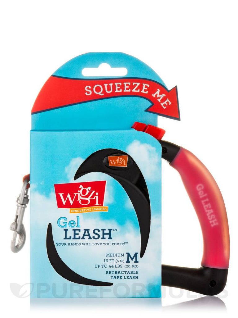 WIGZI RETRACTABLE RED GEL LEASH 16FT UP TO 44LBS
