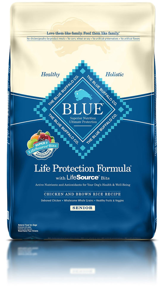 BLUE BUFFALO DOG SENIOR CHICKEN & BROWN RICE 30LBS
