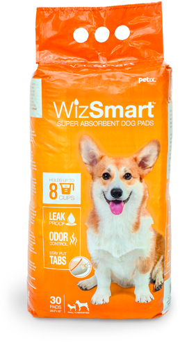 WIZ SMART SUPER ABSORBANT DOG PADS, 30 PACK