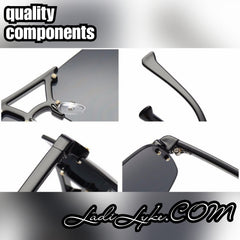 Quality components in Ladi Lyke rimless glasses.