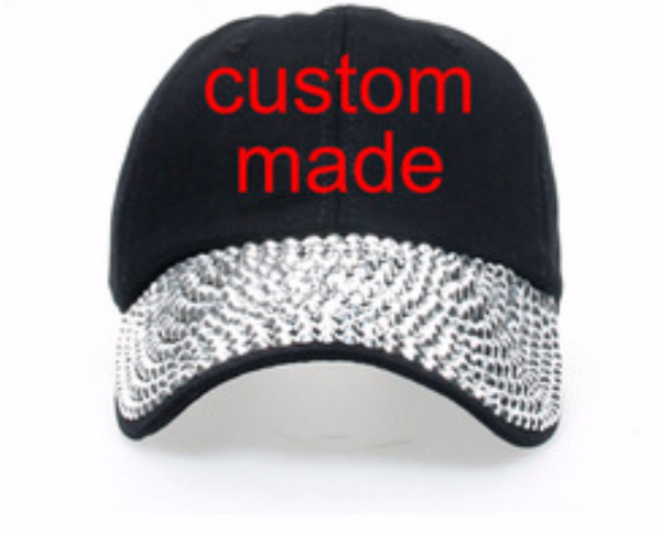 Custom Made Studded Denim Bling Caps