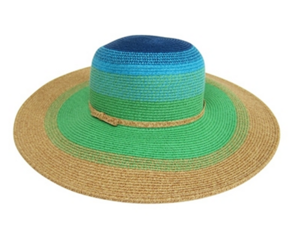 Down Home Blues, Wide Brim Colorblock Sun Hat