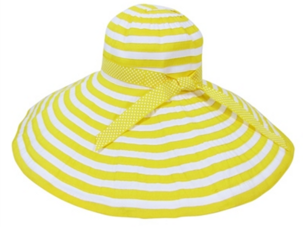 Sunrise, X-Large Brim Striped Ribbon Crusher Sun Hat