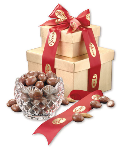 Genuine European Crystal Diamond Bowl with Milk Chocolate Almonds 12 PACK w/ YOUR LOGO or ARTWORK - A Full Basket