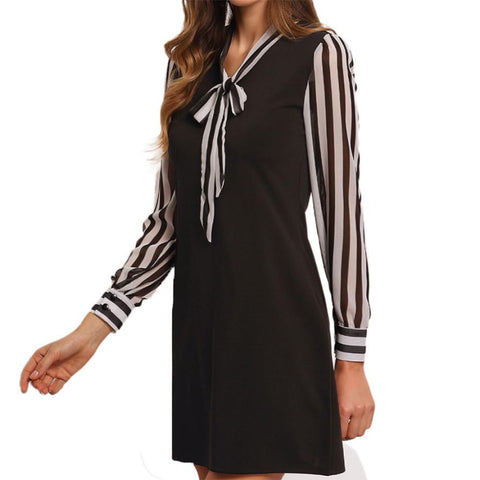 Striped Long Sleeve Mini Dress - A Full Basket