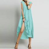Sleeveless Cotton Long Dress - A Full Basket