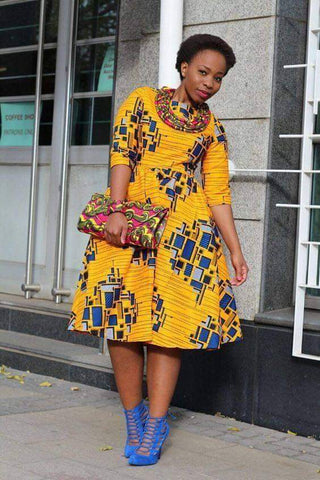 Blue and Yellow Block African Print Dress - A Full Basket