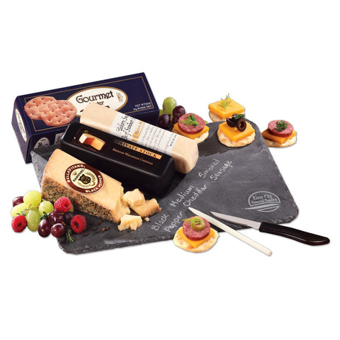 Genuine Slate Serving Plate with Wisconsin Cheese & Sausage 12 PACK w/ YOUR LOGO or ARTWORK - A Full Basket