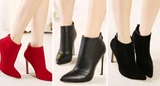 Back Zipper Pointed Toe High Heel Ankle Boots - A Full Basket