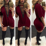V-Neck Lace Up Mini Dress - A Full Basket