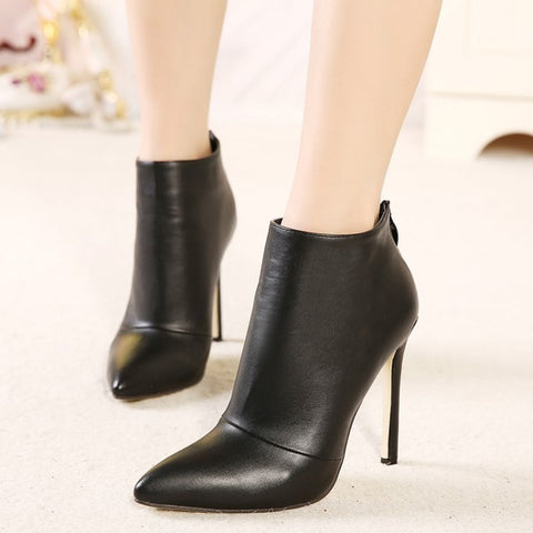 93683cf37612 Back Zipper Pointed Toe High Heel Ankle Boots - A Full Basket