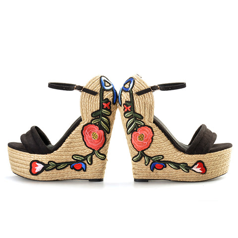 Embroidered Suede Wedge Espadrille Sandals - A Full Basket