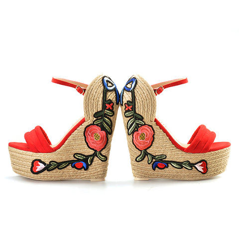 Embroidered Platform Espadrille Wedges - A Full Basket
