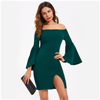 Green Off The Shoulder Exaggerated Flare Sleeve Dress - A Full Basket