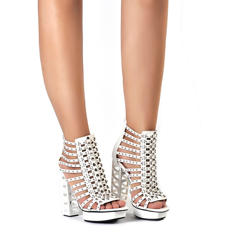 White Ankle Platform Rivet Heels - A Full Basket