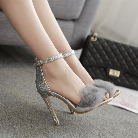 Bling Feather Stiletto High Heels - A Full Basket