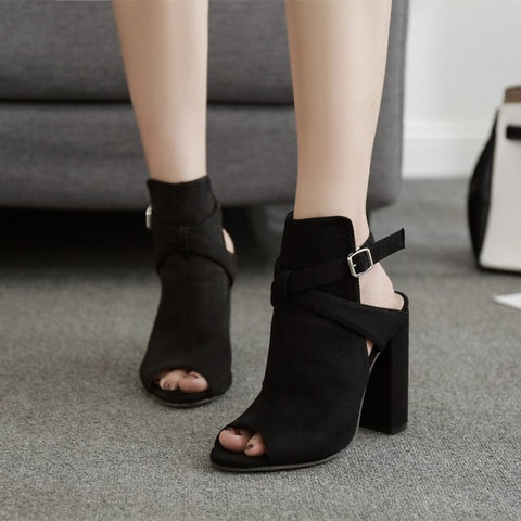 Suede Block Heel Sandals - A Full Basket