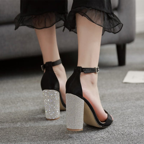 Ankle Strap Square Chunky Heels - A Full Basket