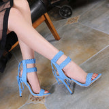 Rome Woven Back Strap Heels - A Full Basket