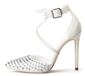 Rivet Pointed Toe with Cross Band High Heels - A Full Basket
