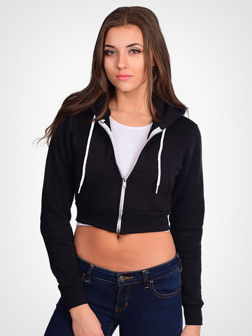 Cropped Fleece Zip Hoodie