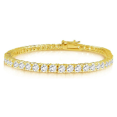Brilliant Bracelet - A 14kt Gold Plated Brilliant Cut and Shine Diamond CZ Tennis Bracelet - VistaShops - 1