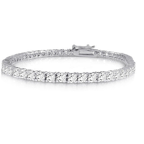 Brilliant Bracelet - A 14kt Gold Plated Brilliant Cut and Shine Diamond CZ Tennis Bracelet - VistaShops - 2