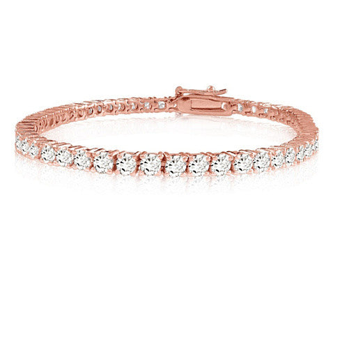Brilliant Bracelet - A 14kt Gold Plated Brilliant Cut and Shine Diamond CZ Tennis Bracelet - VistaShops - 3