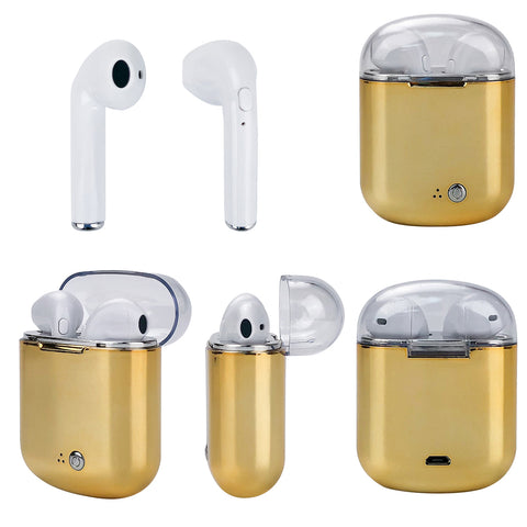 Clear Top Dual Chamber Wireless Bluetooth Earphones With Charging Box