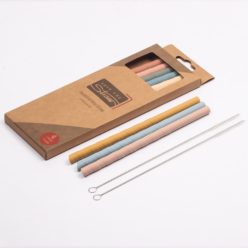 Eco Safe 8 In 1 Silicon Reusable Straws For HOT/COLD Drinks