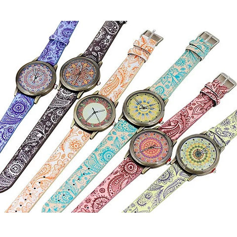Pretty Patterns Watch With Henna Style Belt And Mandala Dial