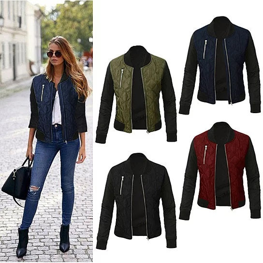 shopify-Chic Babe Bomber Jacket In Quilted Satin-1